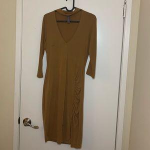 Zaful- Tan Mock Collar Dress